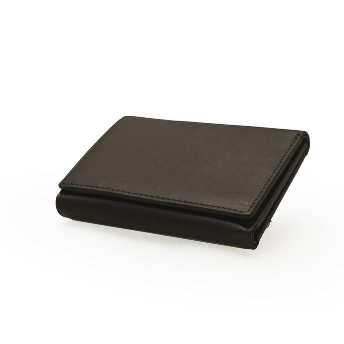Taurus Black Genuine Leather Card Wallet with Zip Section