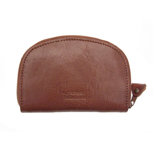 Taurus Genuine Leather Clam Shell Brown Coin Purse