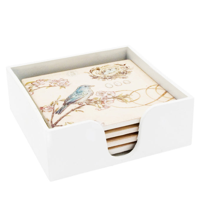 Transomnia Ceramic Bird Coasters in Distressed Style Box