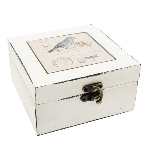 Transomnia Distressed Blue Bird Trinket Jewellery Box
