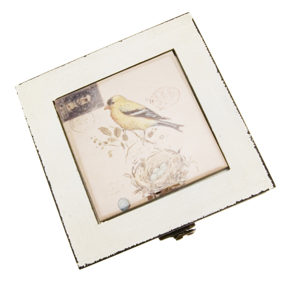 Transomnia Distressed Yellow Bird Trinket Jewellery Box