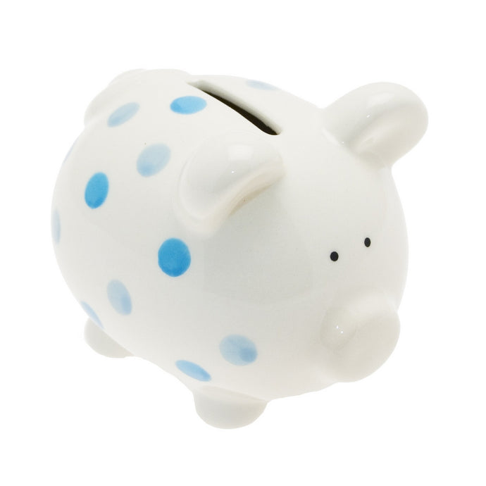 Transomnia White Piggy Bank with Blue Spots