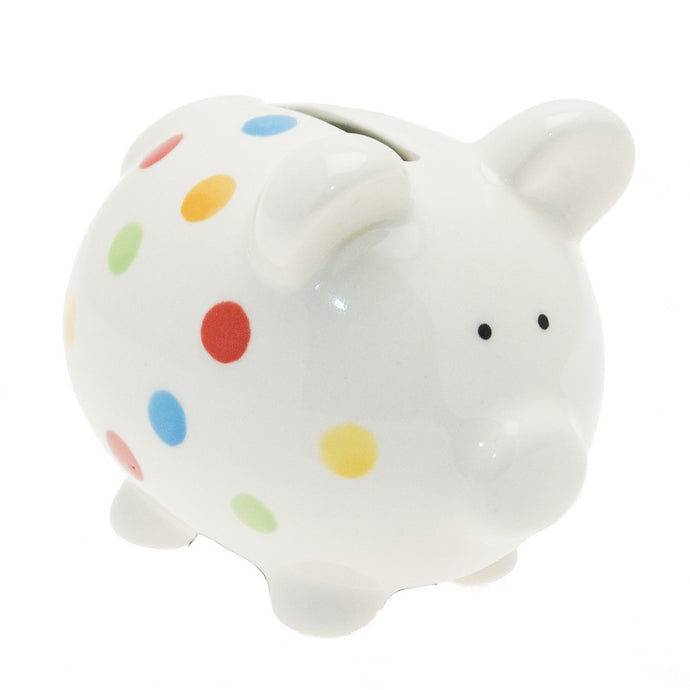 Transomnia White Piggy Bank with Colourful Spots