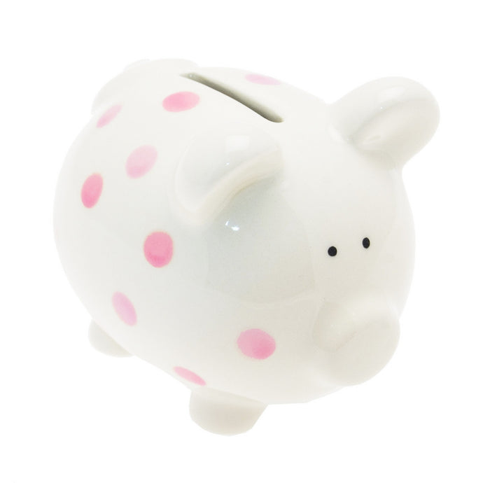 Transomnia White Piggy Bank with Pink Spots