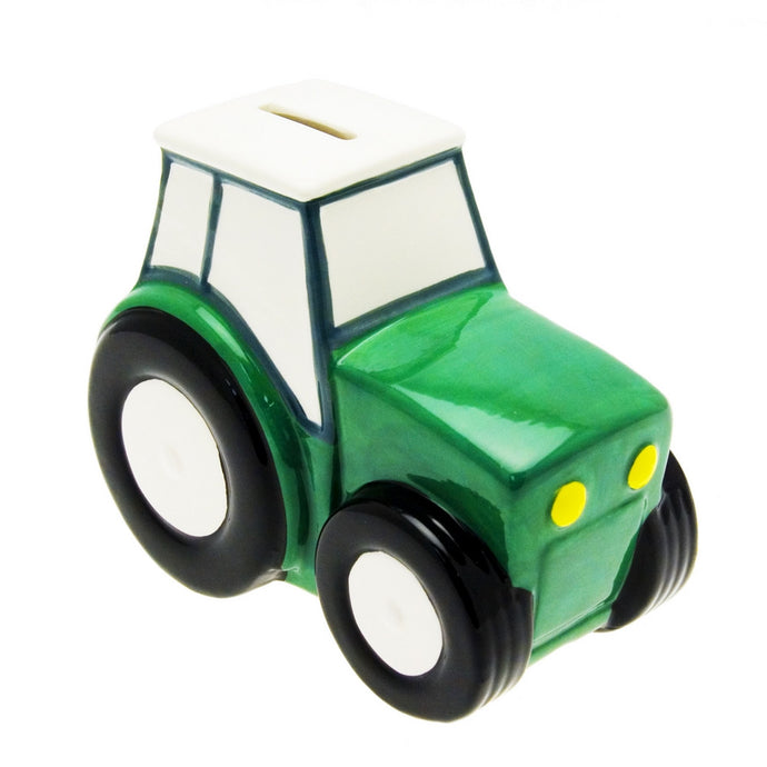 Transomnia Green Tractor Ceramic Money Box / Piggy Bank