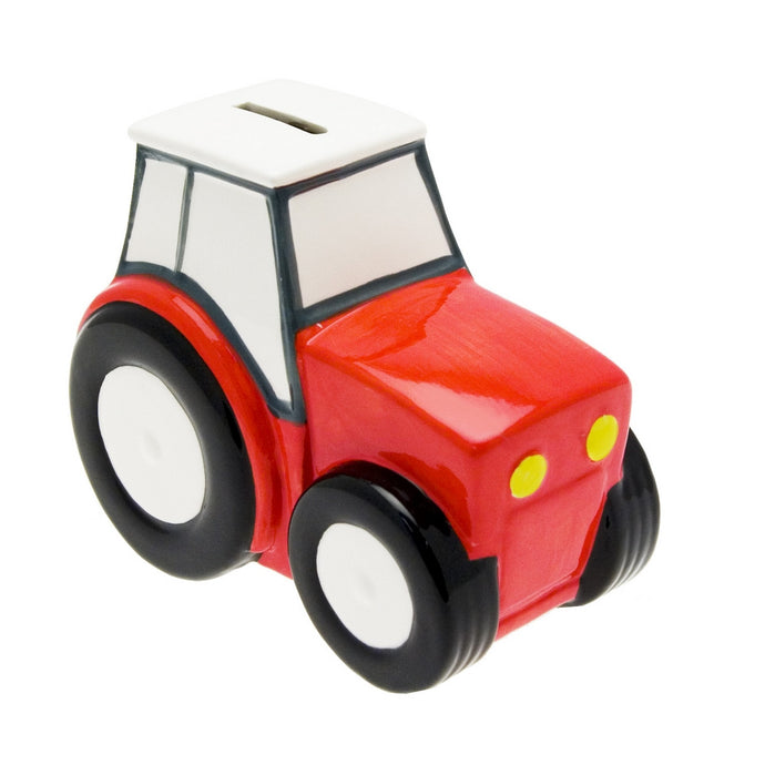 Transomnia Red Tractor Ceramic Money Box / Piggy Bank