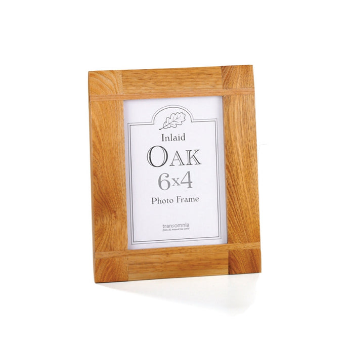 Transomnia Oak Wood Inlay Photo Frame 6x4