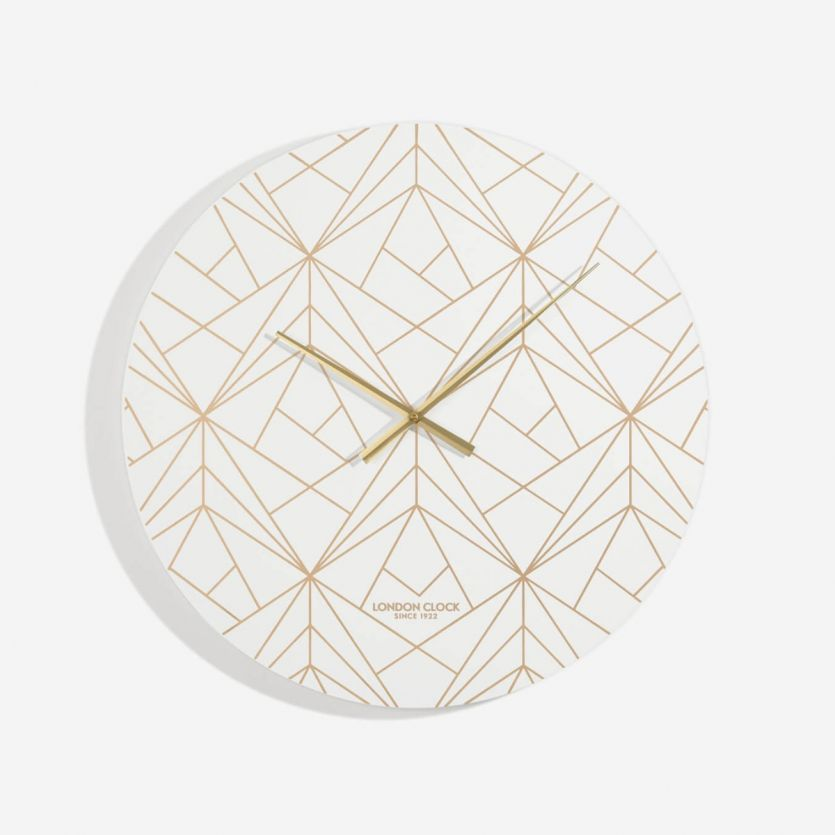 London Clock Co 60 cm White and Champagne Gold Vector Wall Clock