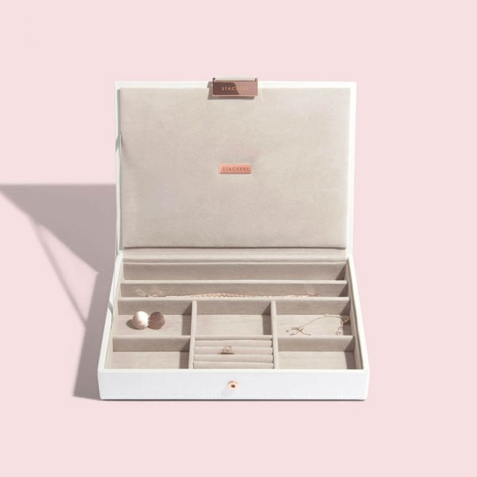 Stackers White & Rose Gold Classic Lidded Jewellery Tray