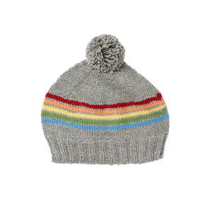 Merino Rainbow Beanie - Grey (3 months - 3 years)
