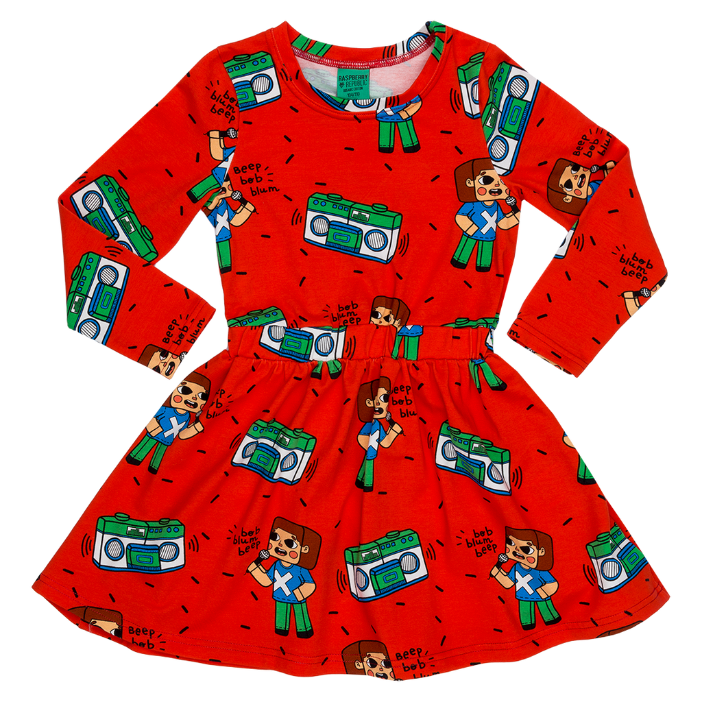 Brick Party Long Sleeve Dress (3 - 11 years)