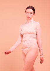 Clive. Lace Narrow Knicker. Powder