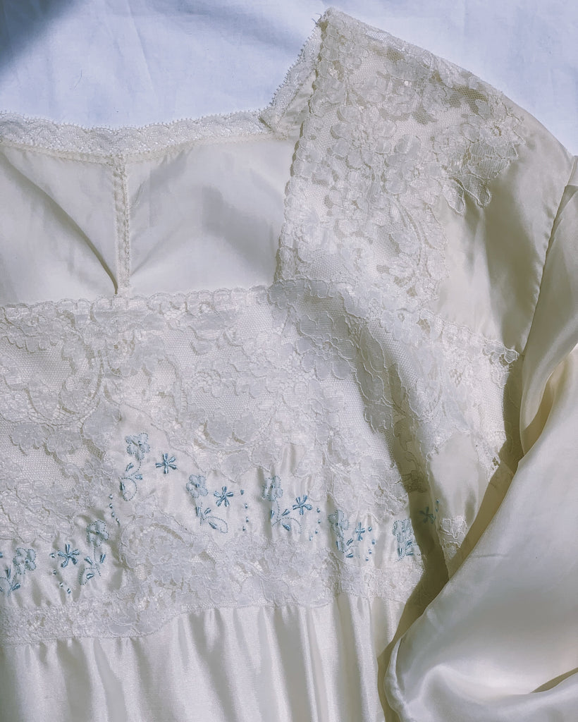 vintage 1940's rayon satin nightgown with appliqué lace accents.