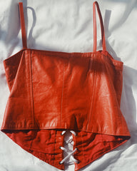 vintage red leather bustier.