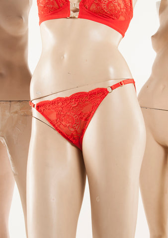 Clive. Lace Narrow Knicker. Redhot