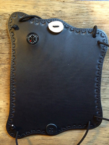 Black Hand Tooled Leather Compass Armguard