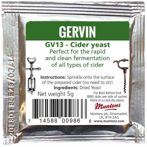 Gervin Cider Yeast GV13 - Brewers Barn - 1