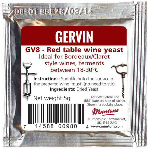 Gervin Red Table Wine Yeast GV8 - Brewers Barn - 1