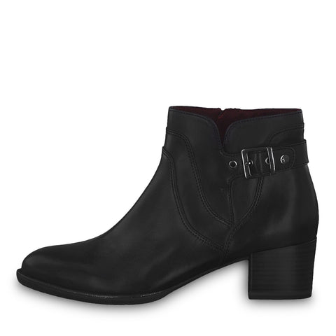 Tamaris black leather ankle boot