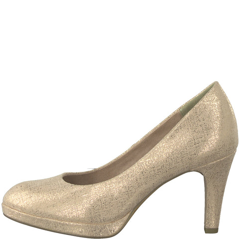 Marco Tozzi pink metallic court shoe