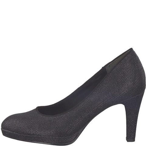 Marco Tozzi black sparkle court shoe