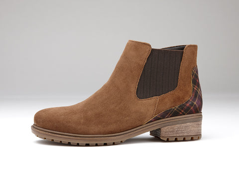 Ara tan suede ankle boot tartan detail