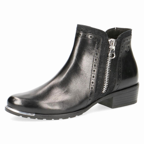 Caprice black ankle leather boot silver trim