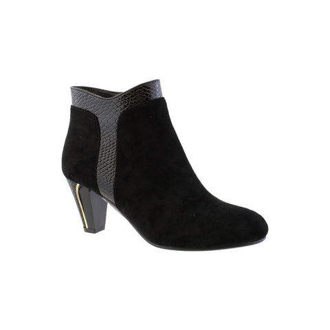 susst black ankle boot snake skin detail