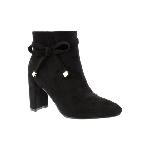 susst bella black suede ankle boot with bow detail