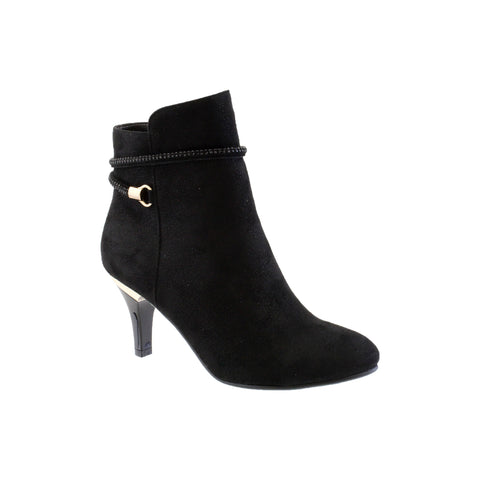 susst black suede ankle boot glitter rope trim
