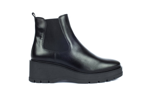 Unisa black leather chunky boot