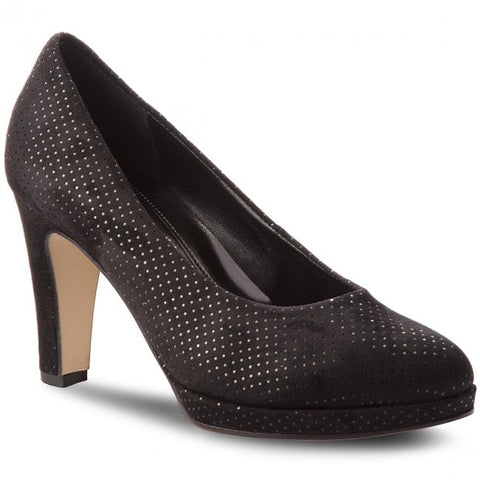 gabor black suede court shoe