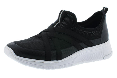 rieker black trainer shoe