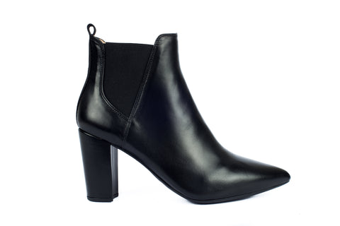 Unisa black leather ankle boot