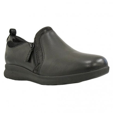 Clarks Un Adorn Zip Black Leather/Suede Combi