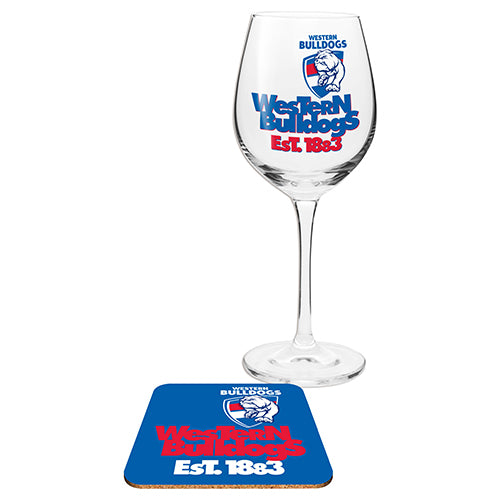 Western Bulldogs Wine Glass And Coaster
