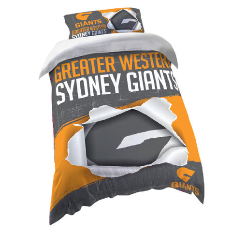 GWS Giants Single Quilt Doona Duvet Cover Pillow Case Set - Spectator Sports Online