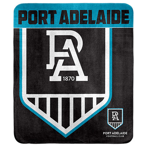 Port Adelaide Power Polar Fleece Throw Rug Blanket