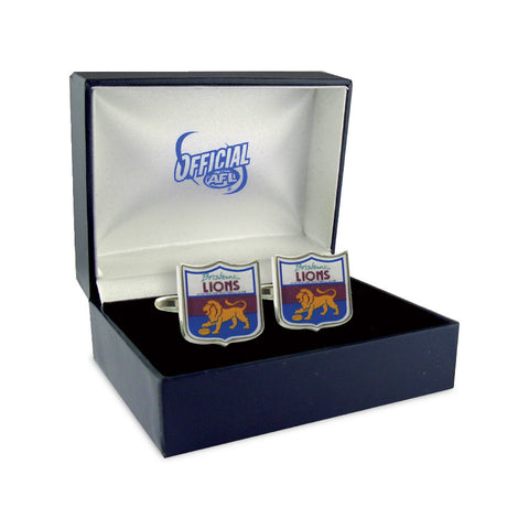 Brisbane Lions Heritage Retro Shield Mens Cufflinks - Spectator Sports Online