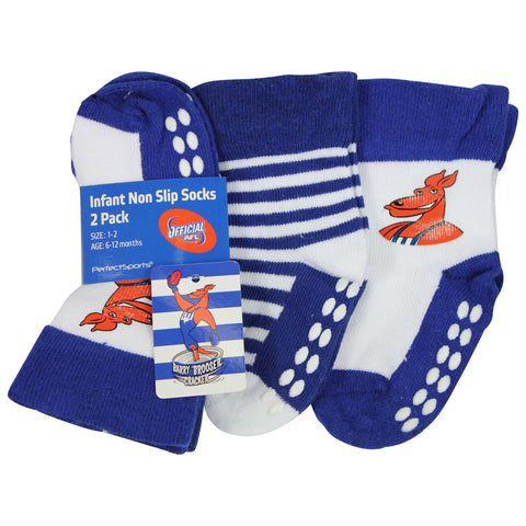 North Melbourne Kangaroos Baby Infant Nonslip Crew Socks 2 pk - Spectator Sports Online