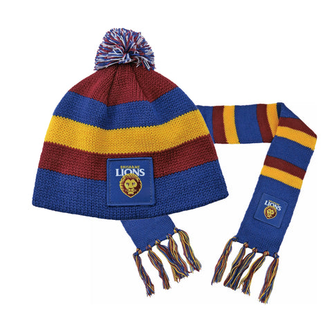 Brisbane Lions Baby Pack - Baby Scarf and Beanie