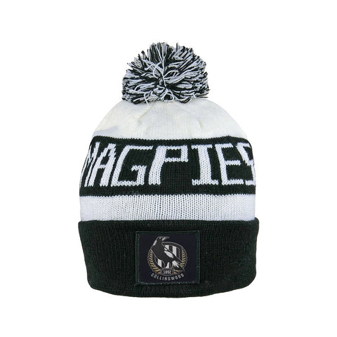 Collingwood Magpies Pom Pom Bar Beanie