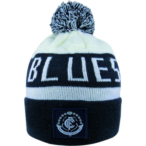 Carlton Blues Pom Pom Bar Beanie