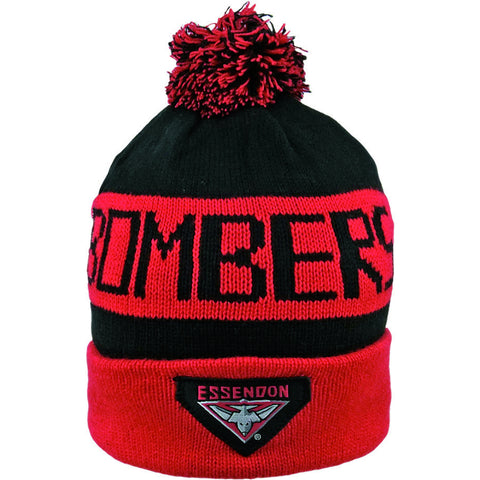 Essendon Bombers Pom Pom Bar Beanie