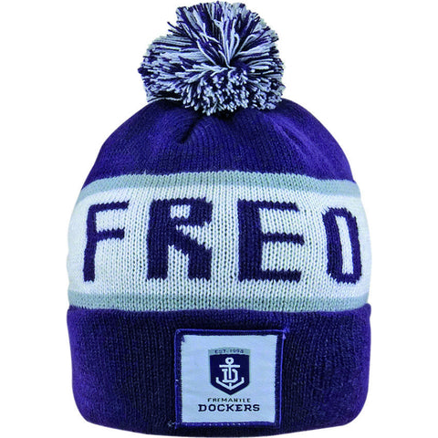 Fremantle Dockers Pom Pom Bar Beanie