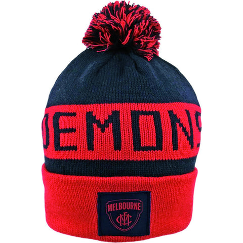 Melbourne Demons Pom Pom Bar Beanie