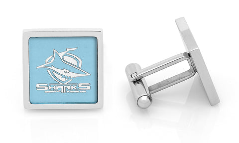 Cronulla Sharks Stainless Etched Logo Square Cufflinks