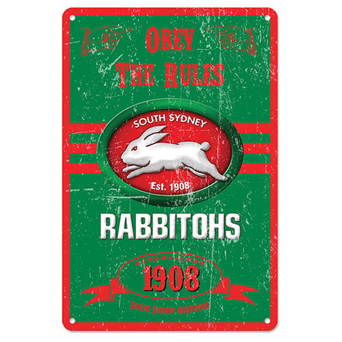 South Sydney Rabbitohs Retro Metal Sign