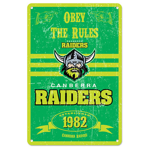 Canberra Raiders Retro Metal Sign