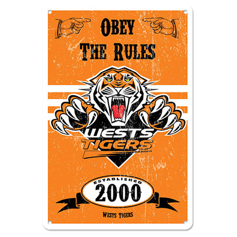 Wests Tigers Retro Metal Sign